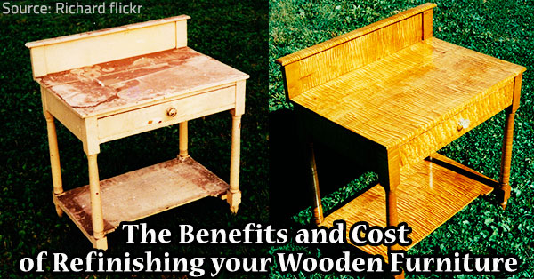Refinishing wooden furniture.