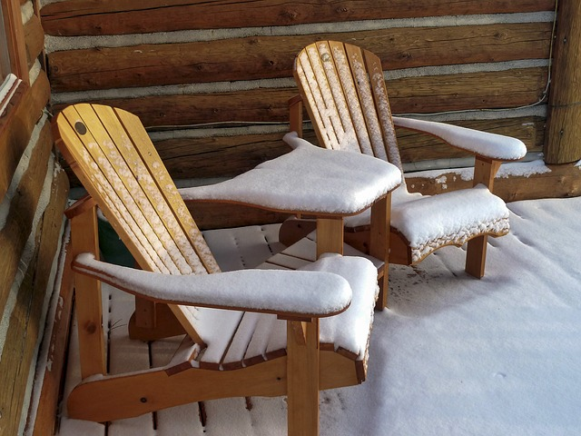 snow covered wood furniture
