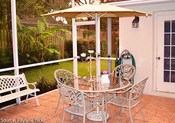 Make every effort to protect metal furniture from rain and excess moisture.