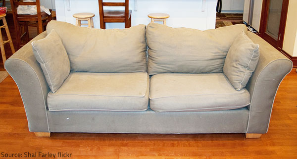 An upholstered piece may start looking grubby even after a year or two of high traffic use.