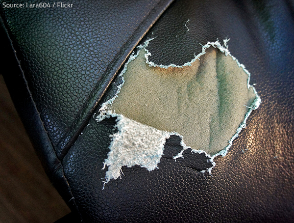 Leather furniture repair is better left to the professionals.