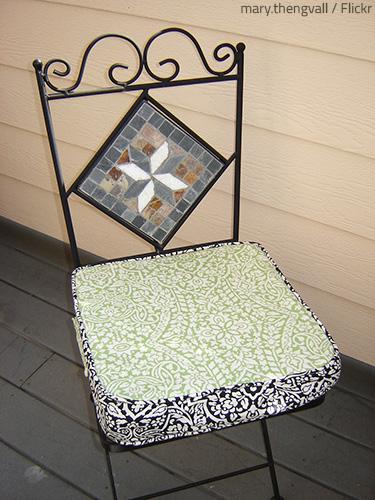 Take care to remove all stains from the fabric before storing your patio furniture for the winter.